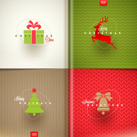 Set of Christmas greeting design - vector illustration