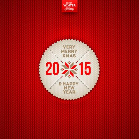 wzorek: Boże Narodzenie i Nowy Rok z życzeniami etykieta na czerwonym dzianiny tle - ilustracji wektorowych
