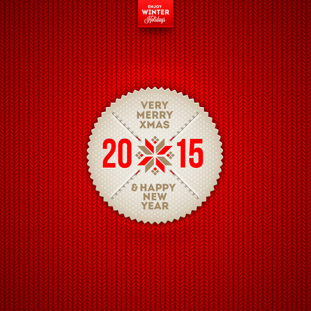 stockinet: Christmas and New year greeting label on a red knitted background - vector illustration Illustration