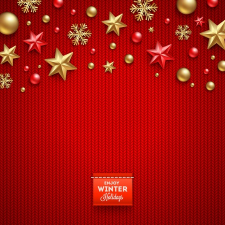 ornaments vector: Christmas vector design - holidays decorations and label on a knitted red background Illustration