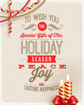 Christmas type design, holidays decoration and candles on a cardboard background - vector illustration Ilustrace