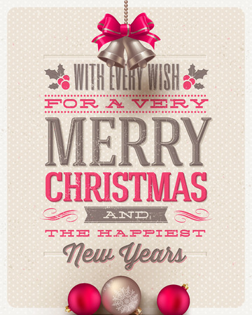 Christmas type design, holidays decoration and hand bells on a cardboard background - vector illustration Vectores
