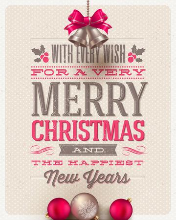 navidad: Dise�o tipo, decoraci�n vacaciones y campanillas de Navidad sobre un fondo de cart�n - ilustraci�n vectorial