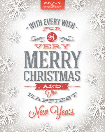 pascuas navideÑas: Tarjeta de felicitación de la Navidad del vector - Vacaciones en diseño de tipo sobre un fondo de nieve del invierno