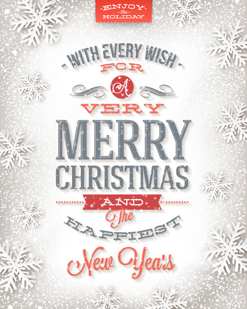Vector Christmas greeting card - holidays type design on a winter snow background Vector