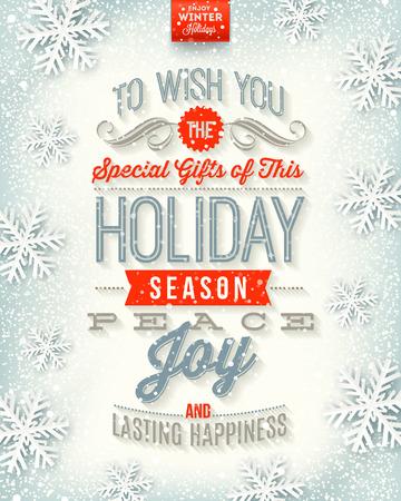 vacaciones: Vector de Navidad ilustración - diseño de tipo festivos en un fondo de la nieve del invierno Vectores