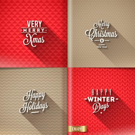 estaciones del año: Conjunto de diseño de tipo de Navidad con una larga sombra sobre un diferentes fondos - ilustración vectorial Vectores