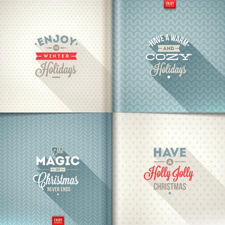 kutlamalar: Farklı geçmişlere uzun gölge ile Noel tipi tasarım Vektör kümesi Çizim