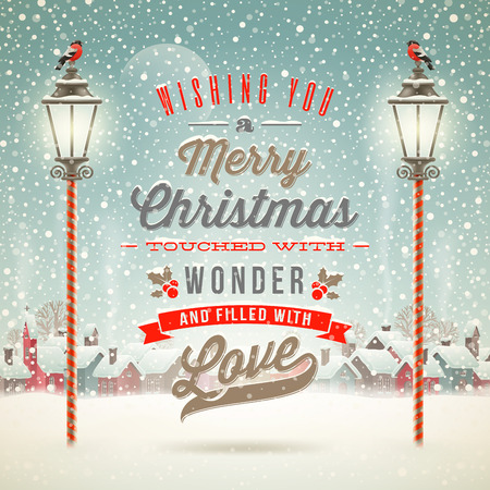 phrases: Christmas greeting type design with vintage street lantern against a winter village - holidays vector illustration