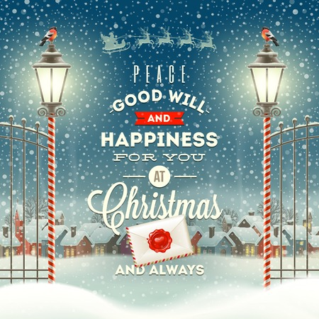 phrases: Christmas greeting type design with vintage street lantern against a evening rural winter landscape - holidays vector illustration