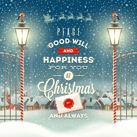 natale: Natale Tipo di auguri con la lanterna d'epoca di strada contro una sera d'inverno paesaggio rurale - vacanze illustrazione vettoriale