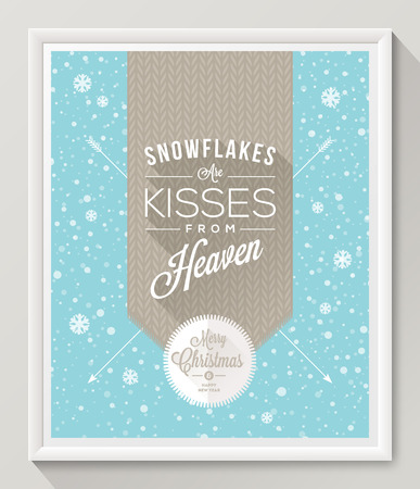 knitted background: Knitted pattern with type design against a snowfall background - Christmas quote poster in white frame. Vector illustration
