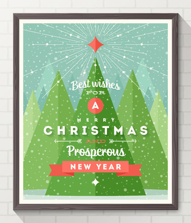 evergreen tree: Wooden frame with flat and type design Christmas poster - vector illustration