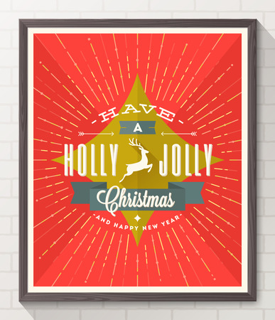 Type Christmas design with deer and sunburst rays - flat style poster in wooden frame on white brick wall. Vector illustration Vector