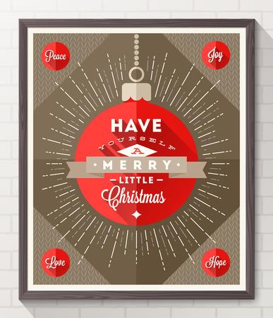 Bal met sunburst stralen en het type Kerstmis design - Vlakke stijl poster in houten frame op een witte bakstenen muur. Vector illustratie