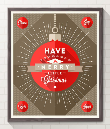 Bauble with sunburst rays and Christmas type design - Flat style poster in wooden frame on a white brick wall. Vector illustration