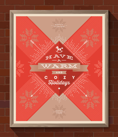 Winter holidays greeting poster in wooden frame on a brick wall - Christmas type design with sunburst rays and knitted pattern. Vector illustration Vector