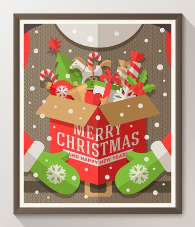 juguetes: Santa Claus manos sosteniendo una caja con juguetes de Navidad, regalos y dulces - Vacaciones cartel estilo plana en marco de madera. Ilustración vectorial