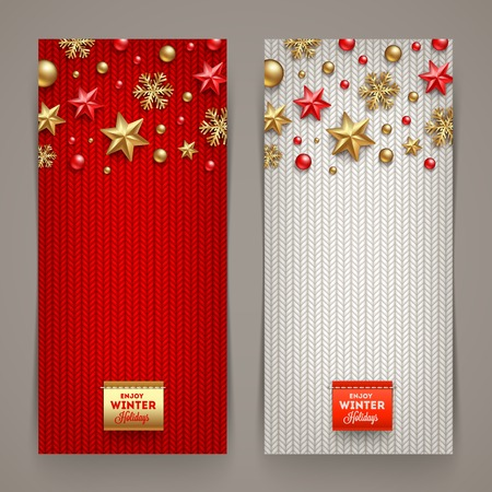 gold star: Holidays banners with knitting background and Christmas decoration - vector illustration