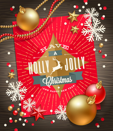 illustration vector: Christmas greeting card, decoration and paper snowflakes on a wooden surface - vector illustration
