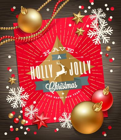 Christmas karty z pozdrowieniami, dekoracji i papierowe płatki śniegu na powierzchni drewnianych - ilustracji wektorowych