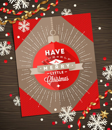Christmas greeting card, decoration and paper snowflakes on a wooden surface - vector illustration Vector
