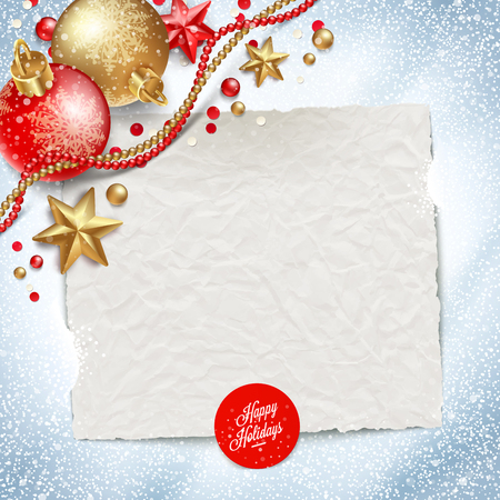 Paper banner for holidays greeting message and Christmas decoration on a snow background - vector illustration Vector