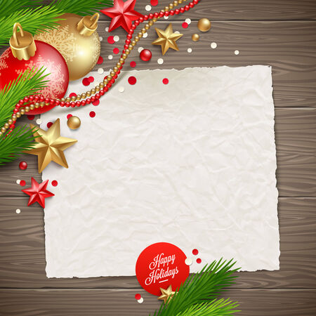 Paper banner for holidays greeting message and Christmas decoration on a wooden background - vector illustration Vector