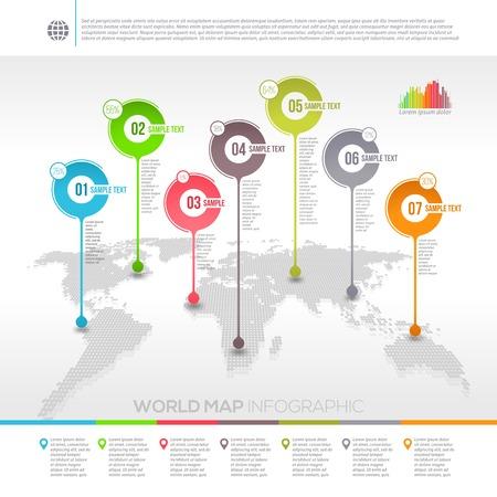 geografia: Diseño vectorial Plantilla - mapa del mundo infografía con punteros de la correspondencia