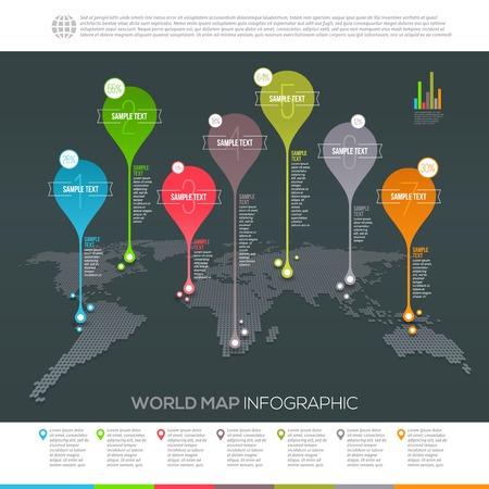 Mappa del mondo infografica con mappa puntatori - Template disegno vettoriale Archivio Fotografico - 35671745