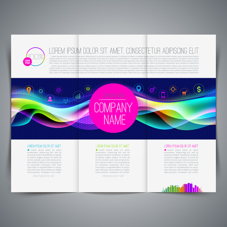Vector illustration - template page design, brochure, leaflet, with colorful abstract shape and business icon Vector