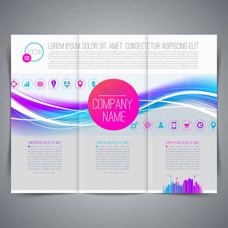 leaflet design: Template page design, brochure, leaflet, with colorful abstract shape and business icon - Vector illustration