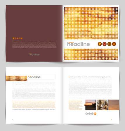 Vector template booklet design - cover and inside pages Vectores