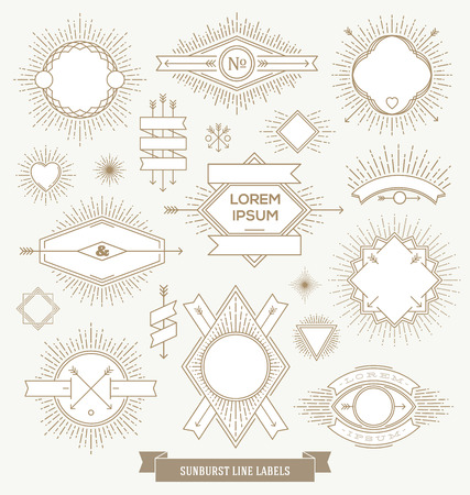 Vector set of line design emblem, sign and hipster labels with sunburst rays Vector