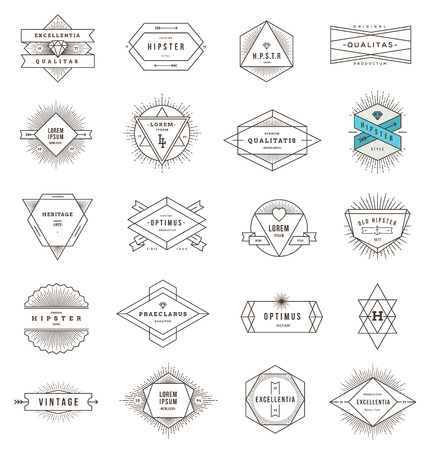 Vector set of hipster line emblems and signs with sunburst