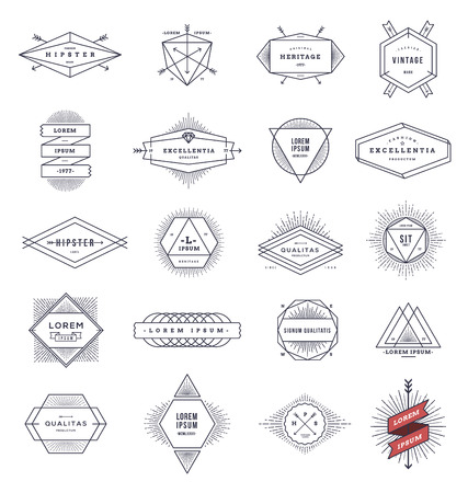 signs and symbols: Set of hipster line emblems and signs with sunburst - vector illustration