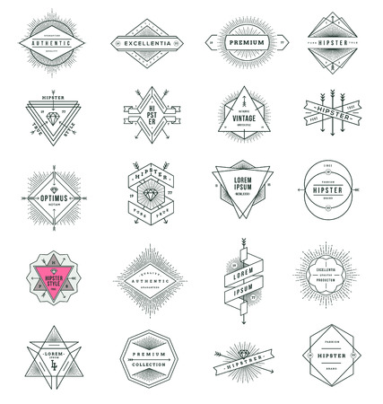 Vector set of hipster line signs and emblems with sunburst