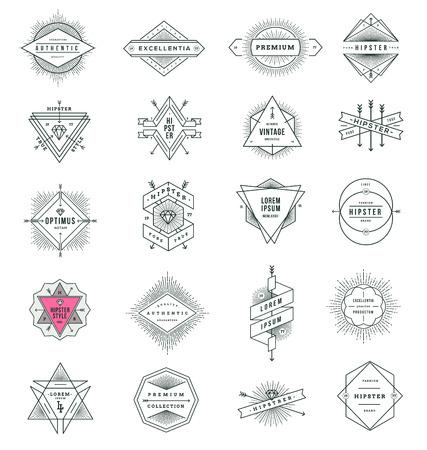 Vector set van hipster lijn tekenen en emblemen met zonnestraal