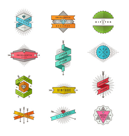 Vector set of colored hipster line signs and emblems Vector