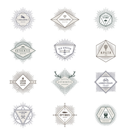 Vector set of sunburst line signs and emblems with hipster symbols Vector