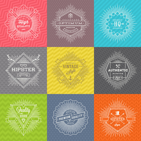 decorative design: Vector set of line signs and emblems with hipster symbols and type design on a colored pattern background