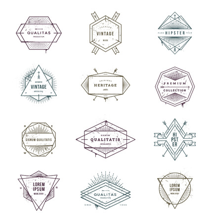 Vector illustration - set of grunge hipster signs and emblems with sunburst rays Vector