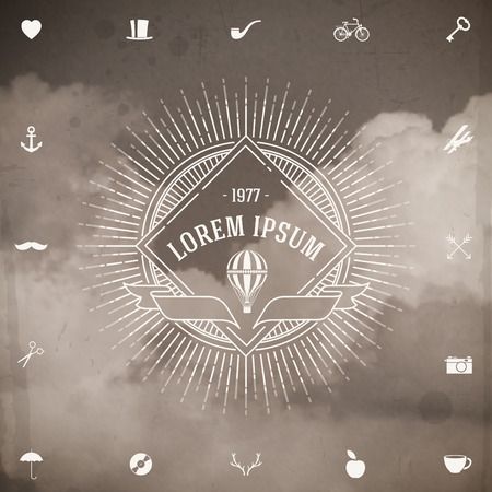 Vintage hipster line emblem with sunburst and air balloon against a clouds background Vector