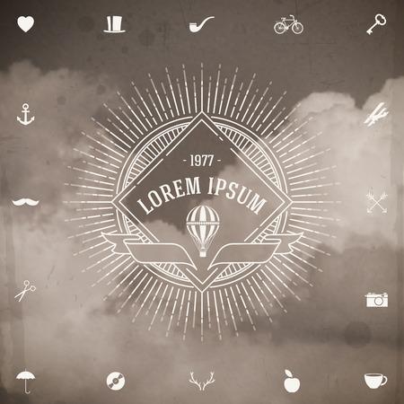 Vintage hipster line logo met zonnestraal en luchtballon tegen een wolken achtergrond