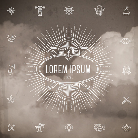 Emblem with sunburst and set of travel line icons against a clouds grunge vintage background Vector