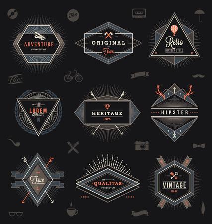 biplane: Set of hipster trendy emblems, labels and sign - vector illustration Illustration