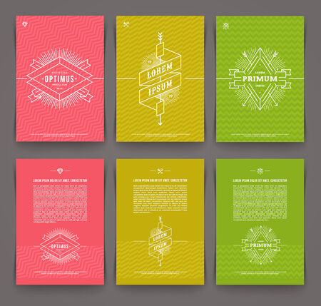 Vector illustration - set of abstract template flyer page design with line drawn  hipster emblem Vector