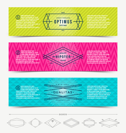 Vector illustration - set of abstract banner template design with line drawn hipster emblem Vector