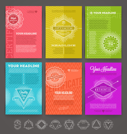 seal stamp: Vector illustration - set of abstract template flyer page design with line drawn  hipster emblem