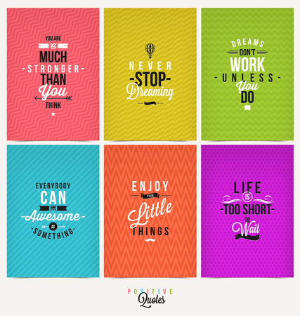 positive note: Set of Positive Quote Typographical Background - vector design